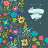 Romantické pozadí různých květin v retro stylu. — Stock vektor
