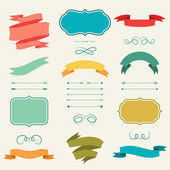 Set of romantic arrows, ribbons and labels in retro style. — Stock Vector