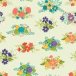 Romantic seamless pattern of floral bouquets in retro style. — Imagen vectorial