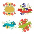 Set of design elements with ribbons, labels and flowers . — Stock Vector