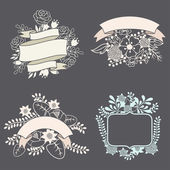Set of design elements with ribbons, labels and flowers . — Vettoriale Stock