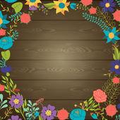 Dřevo textury pozadí s různými květy. — Stock vektor