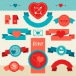 Valentine's and Wedding banners, ribbons, badges. — Stock Vector