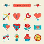 Set of Valentine's and Wedding icons, design elements. — Cтоковый вектор