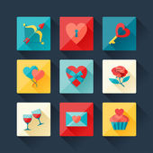 Set of Valentine's and Wedding icons in flat design style. — Stock Vector