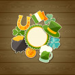 Saint Patrick's Day greeting card with stickers. — Stock Vector