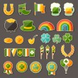 Saint Patrick's Day sticker icons set. — Stock Vector
