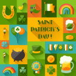 Saint Patrick's Day background in flat design style. — Stock Vector