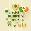 Saint Patrick's Day greeting card in flat design style. — Stock Vector