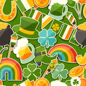 Saint Patrick's Day seamless pattern with stickers. — Stock Vector