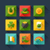 Saint Patrick's Day icons in flat design style. — Stock Vector