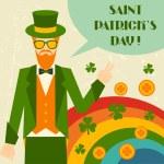 Saint Patrick's Day illustration with hipster leprechaun. — Stock Vector