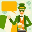Stock Vector: Saint Patrick's Day illustration with hipster leprechaun.