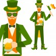 Saint Patrick's Day illustration with hipster leprechaun. — Stock Vector