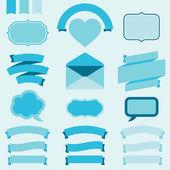 Banner, etiketten und farbbänder für design-einladungskarten. — Stockvektor