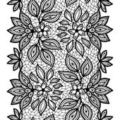 Old lace seamless pattern, ornamental border. Vector texture. — Stock Vector