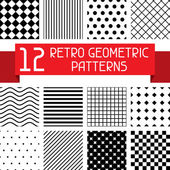 Set of 12 retro geometric patterns. — Stock Vector