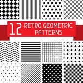 Set of 12 retro geometric patterns. — Stock Vector
