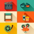 Set of movie design elements in flat style. — Stock Vector