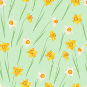 Spring flowers narcissus natural seamless pattern. — Vecteur