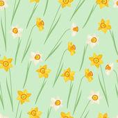 Spring flowers narcissus natural seamless pattern. — Stockvektor