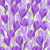 Spring flowers crocus natural seamless pattern. — Stock Vector