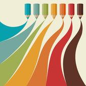 Kreativní pozadí s pastelkami. — Stock vektor