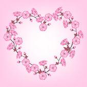 Spring sakura flowers Valentines day background. — Stock Vector