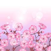 Spring sakura flowers seamless pattern horizontal border. — Stock Vector