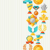 Seamless pattern with trophy and awards. — Stock Vector