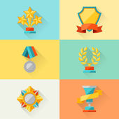 Trophy and awards in flat design style. — Stock Vector