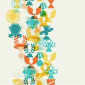 Naadloze patroon met trofee en awards. — Stockvector