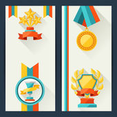 Certificate templates with trophies and awards. — Stock Vector