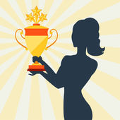 Silhouette of girl holding prize cup. — Stock Vector