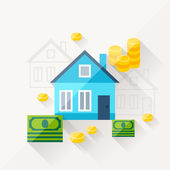 Illustration concept of mortgage in flat design style. — Stock Vector