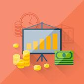 Concetto di illustrazione degli investimenti in stile design piatto. — Vettoriale Stock