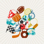 Background with sport icons. — Stock Vector