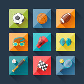 Sport icons set in flat design style. — Stockvektor