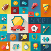 Background with sport icons in flat design style. — Stock Vector