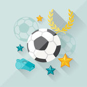 Illustration concept of football in flat design style. — Vetor de Stock