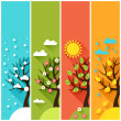 Vertical banners with winter, spring, summer, autumn trees. — Stock Vector #40009789