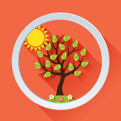 Hintergrund mit Sommer-Baum im flachen Design-Stil. — Stockvektor