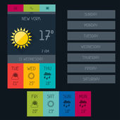 Weather widget in flat design style. — Stock Vector