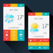 Weather widget in flat design style. — Stock Vector