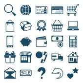 Internet simge alışveriş düz tasarım stili ayarla. — Stok Vektör