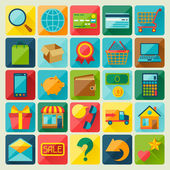 Internet shopping icon set in flat design style. — Stock Vector