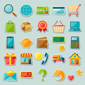 Internet shopping sticker icon set. — Vettoriale Stock