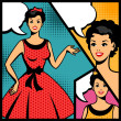 Stock Vector: Illustration of retro girl in pop art style.