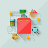 Ilustracja koncepcja internet zakupy w stylu płaska konstrukcja. — Wektor stockowy