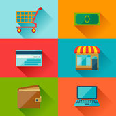 Internet shopping icone in stile design piatto. — Vettoriale Stock